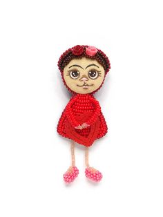 Frida Kahlo Brooch Frida Kahlo Doll Brooch Pin Frida Kahlo Jewelry Beaded Frida Kahlo Brooch Bead Embroidery Miniature Doll Kids Gift (0127)