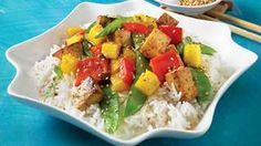 Be tempted by this easy Mango-basil tofu stir-fry recipe Stir Fry Recipes, Cooking Recipes, Vegetarian Recipes, Healthy Recipes, Healthy Food, Tofu Stir Fry, Toasted Sesame Seeds, Tempeh, Edamame