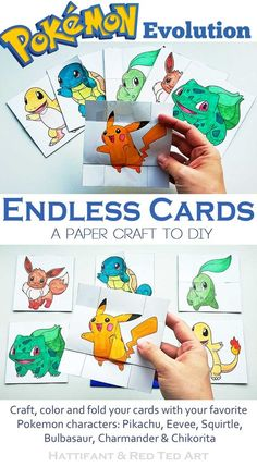 Paper Toys: Pokemon Evolution ENDLESS CARDS The best FREE Pokemon Papertoy yet: Pokemon Evolution Endless Cards to craft, color and flip. A must have papercraft for all Pokemon Fans! Diy Pokemon Cards, Easy Pokemon, Pokemon Craft, Papercraft Pokemon, Pokemon Card Template, Banner Template, Projects For Kids, Crafts For Kids, Art For Kids