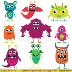 Cute Monster SVGs, Monster or Halloween Cutting Templates - Commercial and Personal Use by PinkPueblo on Etsy https://www.etsy.com/listing/229753351/cute-monster-svgs-monster-or-halloween