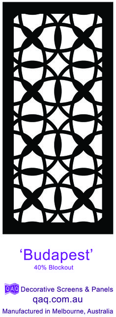 The laser cut intersecting circles of our exotic 'Budapest' decorative screen design makes this pattern a nice choice for a casual interior decorating.