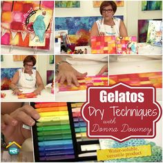 Donna Downey for My Craft Channel 11.18.13 in which she demos how to create a blocked background using a dry gelato technique and finishes it off by blending with Pitt brush pens.