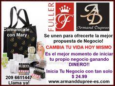 ARMAND DUPREE  FULLER DE MEXICO  www.armanddupree-es.com Se unen para ofrecerte la mejor propuesta de Negocio!!! Es el mejor momento de inciar tu propio negocio ganando DINERO, INCENTIVOS, Y MUCHO MAS!!! En tu KIT de BIENVENIDA recibes el perfume original de LUcia Mendez que tiene un valor de $36.99 además de las muestras de los perfumes de los artistas y cremas de glycerina con Limón , Jalea Real llamanos ya!!! 209 6611447