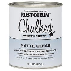 Rust-Oleum® Chalked Protective Topcoat is a clear coating that is applied over Chalked Ultra Matte Paint. It adds protection and durability, while enhancing color. Apply over Chalked Ultra Matte Paint to make any piece last and keep it timeless. Furniture Wax, Chalk Paint Furniture, Furniture Makeover, Furniture Refinishing, Furniture Projects, Refinished Furniture, Funky Furniture, Space Furniture, Farmhouse Furniture