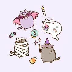 With Halloween just around the corner, we've put together a list of ideas for hosting a frightfully fantastic themed party to celebrate with Vampurr Pusheen Kawaii Halloween, Cute Halloween Drawings, Halloween Cat, Pusheen Stickers, Cute Stickers, Fall Wallpaper, Kawaii Wallpaper, Halloween Backgrounds, Halloween Wallpaper