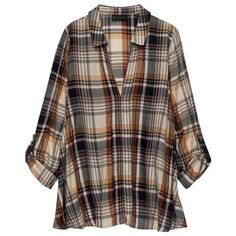 Maisie Hidden Placket Blouse in Plaid :: Bobeau ($74) ❤ liked on Polyvore featuring tops, blouses, shirts, brown blouse, a line tops, tartan blouse, plaid blouse and bobeau tops