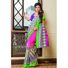Awesome Looks Ivory Bhagalpuri Silk Saree