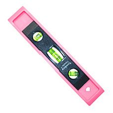 Pink Torpedo Level  $8.00  Our lightweight pink Torpedo Level has a vertical, horizontal and 45 degree window with a side magnet for vertical alignment and a top view window for high and low reading.  It is durable with impact resistant polymer case.