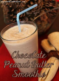 Chocolate Peanut Butter Smoothie Recipe - My Newest Addiction Chocolate Peanut Butter Smoothie, Peanutbutter Smoothie Recipes, Yummy Smoothie Recipes, Nutribullet Recipes, Chocolate Recipes, Yummy Drinks, Breakfast Smoothie Recipes, Recipe Smoothie, Chocolate Drizzle
