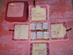 Valentines Day Explosion box with stamped candy wrappers made from address labels