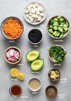 Healthy and easy to make, this deconstructed sushi bowl with black rice and creamy dynamite sauce is the BEST! Vegan and gluten-free recipe. Veggie Bowl Recipe, Vegan Bowl Recipes, Sushi Recipes, Delicious Vegan Recipes, Vegan Dishes, Raw Food Recipes, Vegetarian Recipes, Healthy Recipes, Vegan Meals