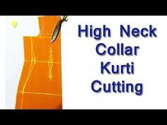 High Neck Collar Kurti / Kameez cutting with Useful Tips High Neck Kurti Design, Collar Kurti Design, Blouse Designs High Neck, Kurti Sleeves Design, High Neck Blouse, Collar Designs, New Kurti Designs, Design Your Own Dress, Tandoori Masala
