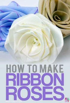 Silk Ribbon Embroidery Flowers How to make ribbon roses using ANY ribbon - looks best with satin and cotton ribbon. Never buy flowers again - just MAKE your own! with SmartFunDIY Roses En Ruban Satin, Satin Ribbon Roses, Ribbon Hair, Hair Bows, Ribbon Work, Satin Flowers, Wired Ribbon, Handmade Flowers, Diy Flowers