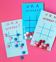 Game Lover's Greeting: M&M's serve as a sweet stand-in for X's and O's in this packaged card-and-game combo.