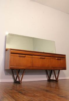 Dallas: Mid Century Modern Teak Sideboard With Mirror (G1) $650 - http://furnishlyst.com/listings/1058321