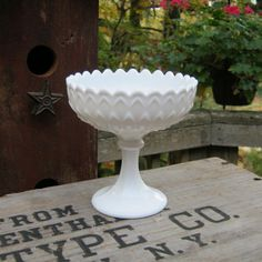 Scalloped White Milk Glass Compote - Petal Fish Scale Pattern - Wedding - Oak Hill Vintage