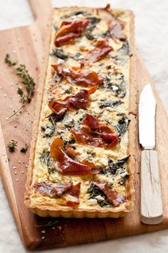 // Swiss Chard, Goat Cheese, and Prosciutto Tart - make it quiche with these ingredients! Cheese Tarts, Goat Cheese, Quiches, Savory Tart, Appetizer Recipes, Appetizers, Food Inspiration, Love Food, Food And Drink