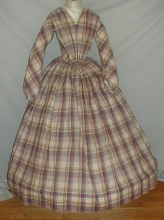 """Charming 1840's Lilac Plaid Print Cotton Dress 