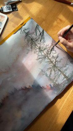 Watercolor Art Lessons, Watercolor Video, Watercolor Painting Techniques, Watercolour Tutorials, Painting & Drawing, Watercolor Landscape Paintings, Gouache, Diy Canvas Art, Tree Art