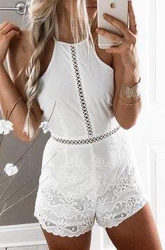 #summer #fashion / crochet playsuit