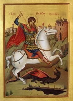 Orthodox Thought for the Day: On the Great Martyr George Catholic Art, Religious Art, Hl Georg, St George Flag, Saint George And The Dragon, St Georges Day, Christian Religions, Byzantine Icons, Jesus Pictures