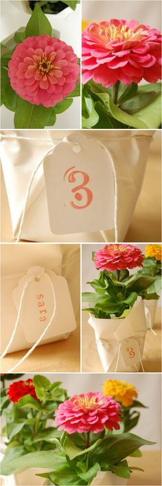 A flat of bright, seasonal annuals  White or brown Kraft paper  White tags  Scissors  String  Stamps (letters or numbers)  Ink