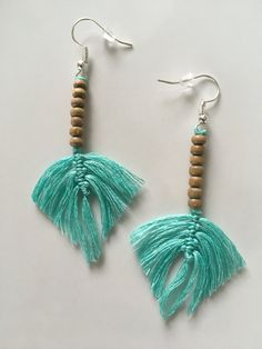 Macrame Feather Earrings by ByDashka on Etsy