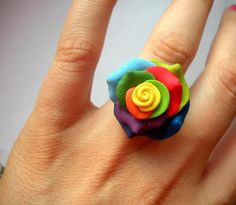 rainbow rose ring  fimo sculpey polymer clay