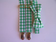 Green gingham bow tie and braces set - green white, boys clothes, party clothes, Shopatots by Shopatots on Etsy https://www.etsy.com/listing/207430181/green-gingham-bow-tie-and-braces-set