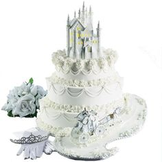 The Fairy Tale Begins Castle Cake - A sweet trail begins this fantasy tale! The royal couple will be enchanted by this charming cake finished with Castle and Horse and Carriage Figurines.