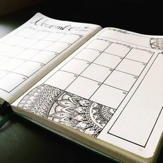 Bullet journal monthly calendar, grid calendar, mandala drawing. @fancykay_illustration
