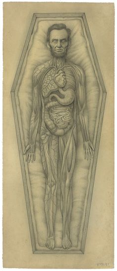 "ssdmmfr: "" Artist: Mark Ryden ""Abraham"" (Abraham Lincoln - Leadbelly) x Graphite on Paper 2012 "" Mark Ryden, Meat Drawing, Anatomy Art, Human Anatomy, Lowbrow Art, Creepy Cute, Surreal Art, Collage Art, Pop Art"