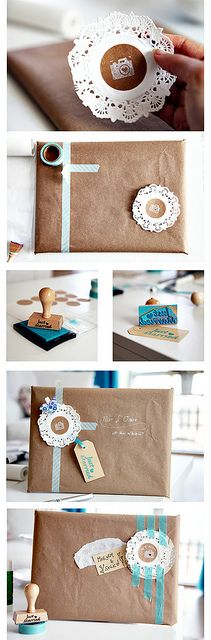 Photo Packaging. Teal tape and brown paper!