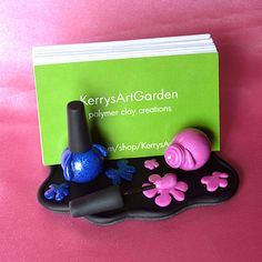 Pink & Blue Nail Polish Polymer Clay Business Card Holder