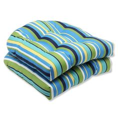 Pillow Perfect Outdoor Topanga Stripe Lagoon Wicker Seat Cushion, Set of 2 * Check this awesome product by going to the link at the image.