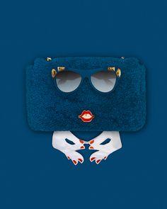 Fendi 'Be Baguette' Mini Shearling Bag [Buy] Prada Embellished Sunglasses [Buy] Caia Jewels by Chiara Ferragni Red Lips Ring [Buy] Vivetta Embroidered Hands Collar [Buy]