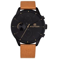 Tommy Hilfiger Chase 1791486 Men's Quartz Black Ion-Plated Stainless Steel and Leather Watch Mens Dress Watches, Casual Watches, Watches For Men, Tommy Hilfiger Watches, Junghans, Stylish Mens Outfits, Bracelet Cuir, Fashion Days, Stainless Steel Case
