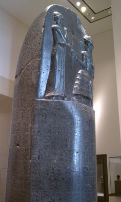 """The Code of Hammurabi - Musée du Louvre; well-preserved Babylonian law code (first las code), dating back to about 1772 BC; """"an eye for an eye, a tooth for a tooth"""" (lex talionis); cuneiform or wedged-shaped writing"""