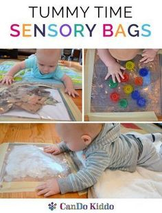 Baby sensory play and baby learning play to make Tummy Time fun! Learn to make simple sensory bags for babies to do more Tummy Time.