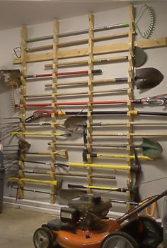 This is a guide to making a cheap and simple garden tool rack. This one is for my dad's shed and keeps all the tools safely of the floor.