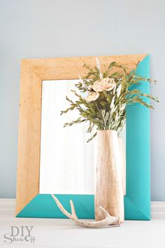 love this turquoise mirror makeover at diyshowoff.com @DIY Show Off