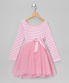 Take a look at this Pale Pink StripeTulle A-Line Dress - Toddler & Girls by Designer Kidz on #zulily today!