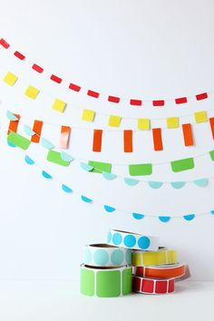 Make everyday a celebration with this super simple DIY Sticker Roll Garland! Make a rainbow of garland to add to any party decor or just because! Kids Party Themes, Diy Party Decorations, Paper Decorations, Paper Garlands, Party Ideas, Simple Diy, Super Simple, Crafts To Make, Diy Crafts