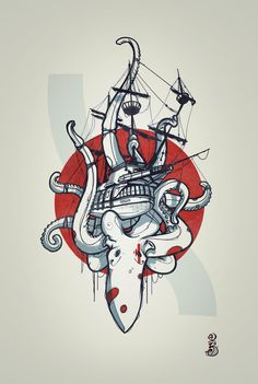 kraken pirate ship by RemiisMeltingDots on DeviantArt – octopus tattoo Octopus Tattoo Design, Octopus Tattoos, Bear Tattoos, Body Art Tattoos, Arrow Tattoos, Illustration Vector, Illustrations, Ankle Tattoo Small, Ankle Tattoos