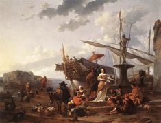 Nicolaes Berchem - Italiaans havenlandschap en elegant paar