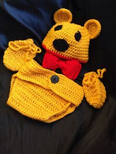 Crochet Winnie the Pooh Hat, Diaper Cover & Mittens on Etsy, $34.99