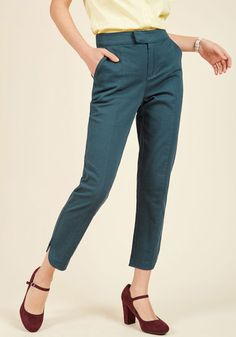 Delighted Foresight Pants in Dusk. Yes, these cropped trousers from our ModCloth namesake label are a perfect pick for the office, but that's not all! #blue #modcloth