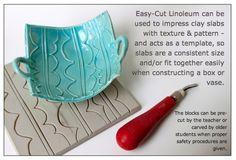 Linoleum Impressed Clay Boxes Downloads Lino_Clay.pdf - Linoleum & Clay Presentation PDF Lino_Clay.ppt - Linoleum & Clay Power Point Presentation Lino_Clay_Lesson.pdf - Lesson Plan PDF