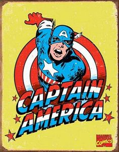 Vintage Captain America Sign is a brand new vintage tin sign made to look vintage, old, antique, retro. Purchase your vintage tin sign from the Vintage Sign Shack and save. Captain America Poster, Marvel Captain America, Marvel Heroes, Marvel Characters, Vintage Tin Signs, Retro Vintage, Vintage Style, Vintage Food, Pop Art