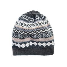 Grey and taupe patterned knit beanie.